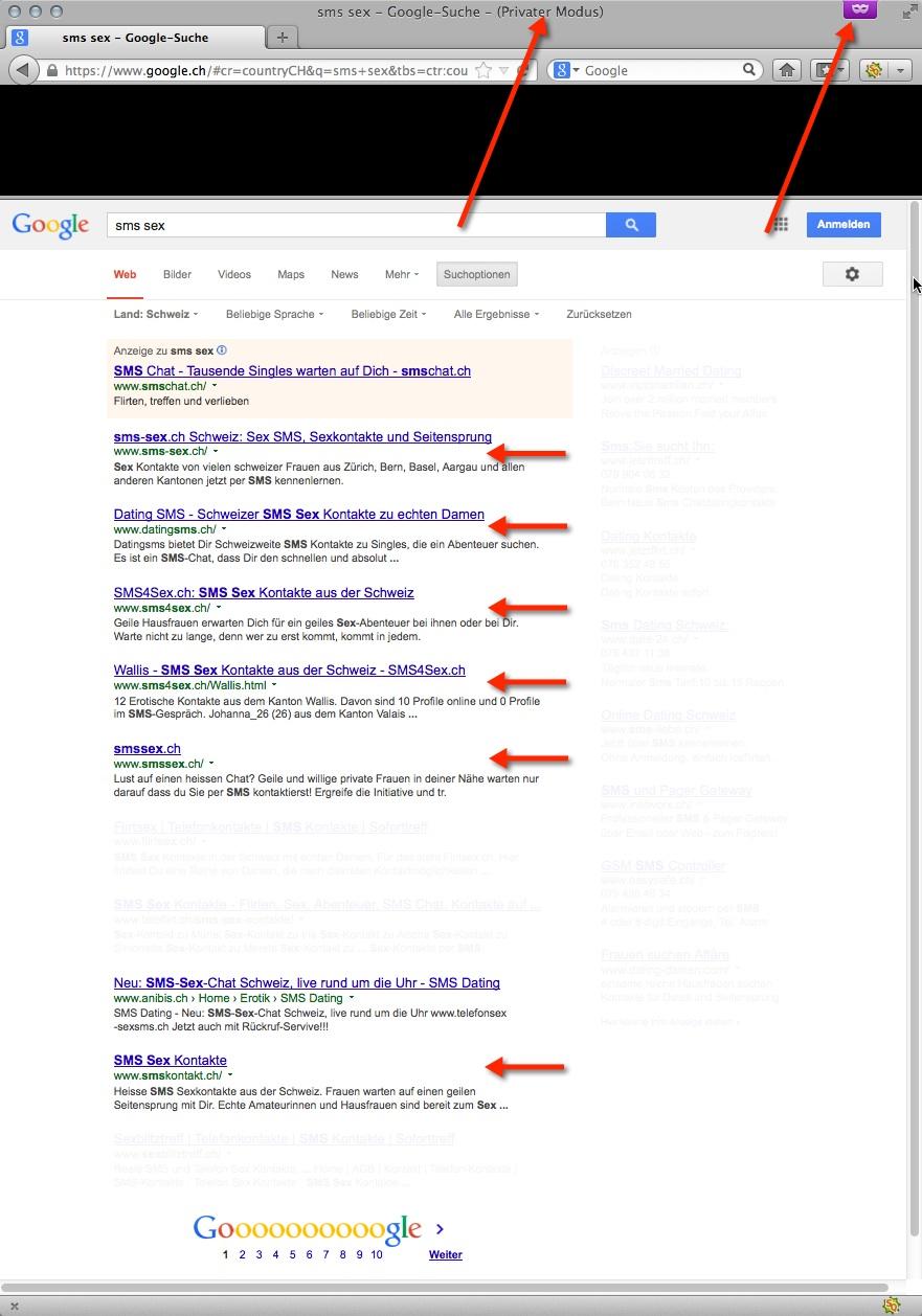 5 von 10 google Resultaten sind Seiten von Erotik-Webdesign.ch